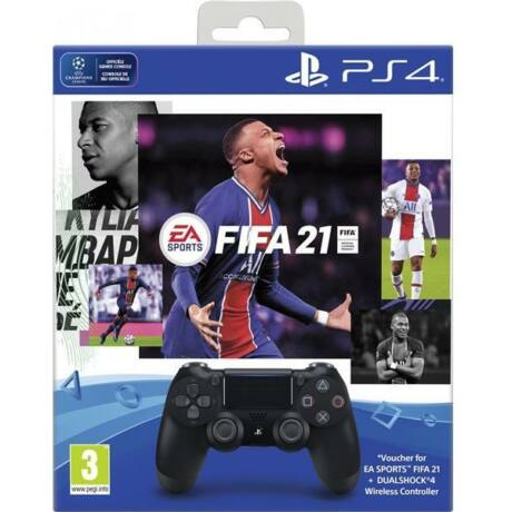 Sony PlayStation 4 DualShock 4 V2s kontroller, fekete + FIFA 21 PS719834724